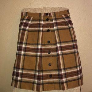 J Crew Brown Plaid Skirt